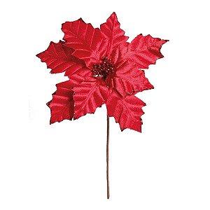 Flor Cabo Médio Poinsettia Vermelho 45cm - 01 unidade - Cromus Natal - Rizzo Embalagens