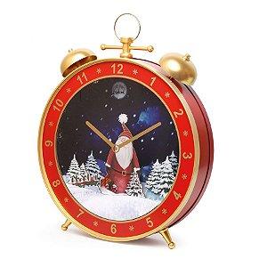 Despertador Decorativo de Parede com Papai Noel 54cm - 01 unidade - Cromus Natal - Rizzo Embalagens