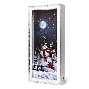 Quadro Decorativo com Boneco de Neve 79cm - 01 unidade - Cromus Natal - Rizzo Embalagens