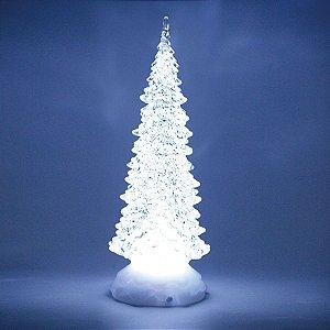 Pinheiro Decorativo Incolor com Led Branco 22cm - 01 unidade - Cromus Natal - Rizzo Embalagens