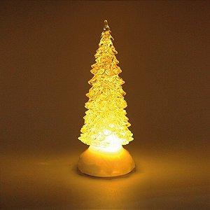 Pinheiro Decorativo Incolor com Led Amarelo 22cm - 01 unidade - Cromus Natal - Rizzo Embalagens