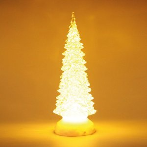 Pinheiro Decorativo Incolor com Led Amarelo 27cm - 01 unidade - Cromus Natal - Rizzo Embalagens