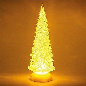 Pinheiro Decorativo Incolor com Led Amarelo 32cm - 01 unidade - Cromus Natal - Rizzo Embalagens