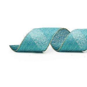 Fita Aramada Azul e Ouro 6,3cm x 9,14m - 01 unidade - Cromus Natal - Rizzo Embalagens