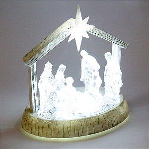 Presépio Incolor com Luz Led Branca e Som - 01 unidade - Cromus Natal - Rizzo Embalagens