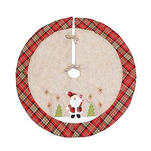 Saia para Árvore Xadrez Noel Juta e Vermelho 90cm - 01 unidade - Cromus Natal - Rizzo Embalagens