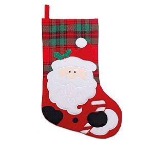 Bota Xadrez Noel Vermelho e Verde 40cm - 01 unidade - Cromus Natal - Rizzo Embalagens