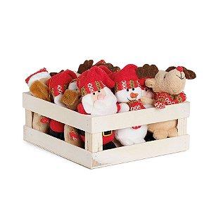 Mini Box Mini Noéis Urso e Rena - 12 unidades - Cromus Natal - Rizzo Embalagens