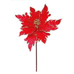 Flor Cabo Curto Poinsettia Vermelha com Borda Ouro Glitter 30cm - 01 unidade - Cromus Natal - Rizzo Embalagens