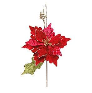 Flor Cabo Médio Poinsettia Vermelha com Folha Verde 42cm - 01 unidade - Cromus Natal - Rizzo Embalagens