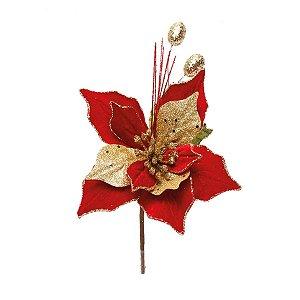 Flor Cabo Curto Poinsettia Vermelho e Folhas Ouro 25cm - 01 unidade - Cromus Natal - Rizzo Embalagens