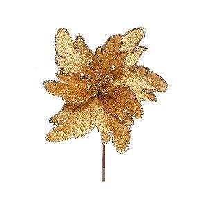 DUPLICADO - Flor Cabo Curto Poinsettia Vermelho e Folhas Ouro 25cm - 01 unidade - Cromus Natal - Rizzo Embalagens