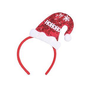Tiara com Gorro Noel Vermelho e Branco HoHoHo - 01 unidade - Cromus Natal - Rizzo Embalagens