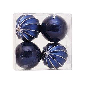 Kit Bolas Gomos Lisa Azul Marinho 10cm - 04 unidades - Cromus Natal - Rizzo Embalagens