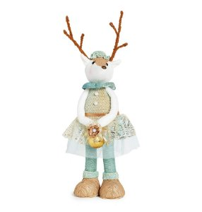 Rena em Pé Com Vestido Azul e Ouro 42cm - 01 unidade - Neo Mint - Cromus Natal - Rizzo Embalagens
