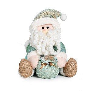 Noel Sentado com Saco de Presente 25cm - 01 unidade - Neo Mint - Cromus Natal - Rizzo Embalagens