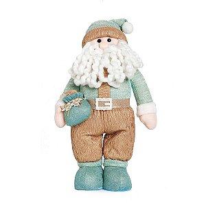 Noel em Pé com Saco de Presente 45cm - 01 unidade - Neo Mint - Cromus Natal - Rizzo Embalagens