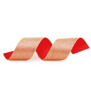 Fita Aramada Glitter Vermelho e Ouro 6,3cm x 9,14m - 01 unidade - Cromus Natal - Rizzo Embalagens