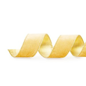 Fita Aramada Veludo Lisa Ouro 3,8cm x 9,14m - 01 unidade - Cromus Natal - Rizzo Embalagens