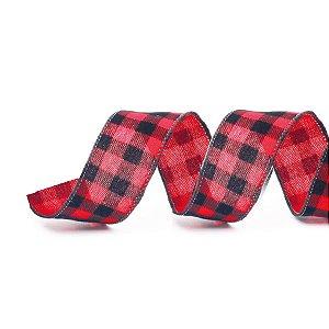 Fita Aramada Xadrez Vermelho e Preto 6,3cm x 9,14m - 01 unidade - Cromus Natal - Rizzo Embalagens