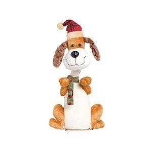 Noel e Cachorro com Movimento Vermelho 36cm - 01 unidade - Cromus Natal - Rizzo Embalagens
