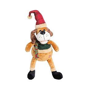Cachorro com Camisa Verde com Movimento 35cm - 01 unidade - Cromus Natal - Rizzo Embalagens