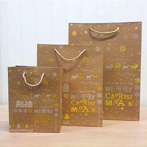 Sacola de Papel Kraft - We Whish you a Merry Christmas - com Detalhes em Dourado