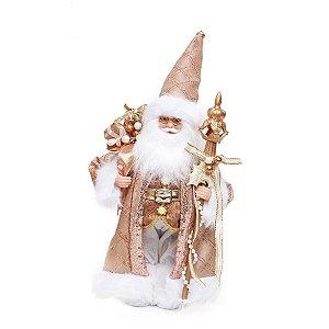 Noel em Pé com Cetro Rose e Branco 32cm  - 01 unidade - Cromus Natal - Rizzo Embalagens