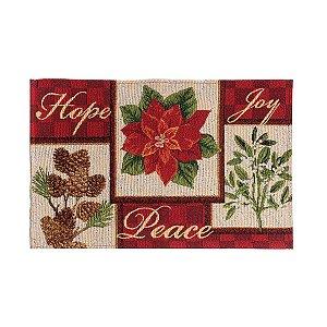 Jogo Americano Hope Peace e Joy 35cm - 01 unidade - Cromus Natal - Rizzo Embalagens