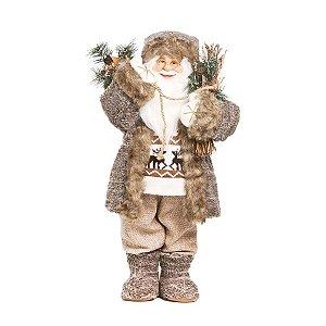 Noel Rústico com Cajado Branco e Marrom 65cm - 01 unidade - Cromus Natal - Rizzo Embalagens