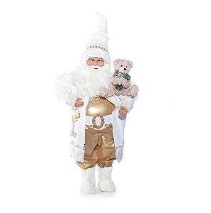 Noel Decorativo com Urso Branco e Ouro 82cm - 01 unidade - Cromus Natal - Rizzo Embalagens