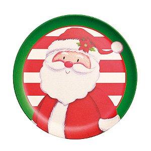 Prato de Sobremesa Papai Noel Bamboo 10cm - 01 unidade - Cromus Natal - Rizzo Embalagens