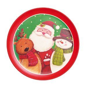 Prato de Sobremesa Noel Rena e Boneco de Neve Bamboo 10cm - 01 unidade - Cromus Natal - Rizzo Embalagens