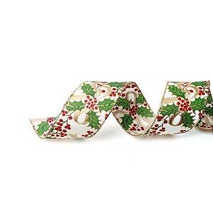 Fita Aramada Azevinho Vermelho e Verde 6,3cm x 9,14m - 01 unidade - Cromus Natal - Rizzo Embalagens
