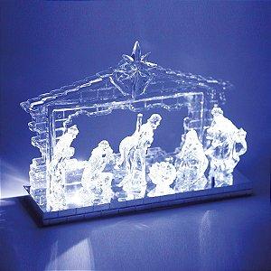 Presépio com Iluminação Branca Incolor 22cm - 01 unidade - Cromus Natal - Rizzo Embalagens