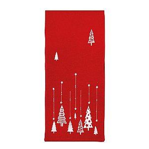 Caminho de Mesa Pinheiro Vermelho 175cm - 01 unidade - Cromus Natal - Rizzo Embalagens