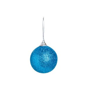 Bola Glitter Azul 05cm - 06 unidades - Cromus Natal - Rizzo Embalagens