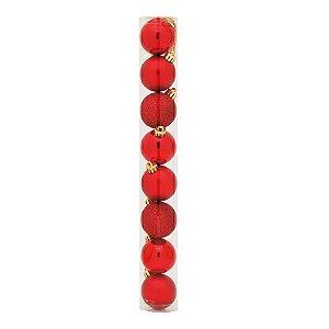 Bolas em Tubo Vermelho 10cm - 08 unidades - Cromus Natal - Rizzo Embalagens
