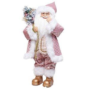 Noel Decorativo Rosa e Branco 60cm - 01 unidade - Cromus Natal - Rizzo Embalagens
