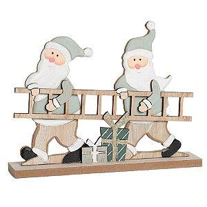 Noéis Segurando Escada Cru e Verde 18cm - 01 unidade - Cromus Natal - Rizzo Embalagens