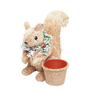 Esquilo Sentado com Cachepot Crespinho 26cm - 01 unidade - Cromus Natal - Rizzo Embalagens