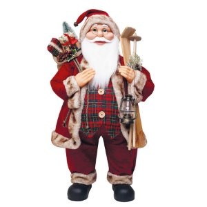 Noel com Presentes Vermelho Verde Xadrez e Marrom 75cm - 01 unidade - Cromus Natal - Rizzo Embalagens