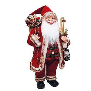 Noel com Presentes Vermelho Verde Xadrez e Marrom 62cm - 01 unidade - Cromus Natal - Rizzo Embalagens