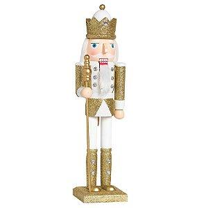 Soldado de Chumbo de Madeira Ouro e Branco com Lança 38cm - 01 unidade - Cromus Natal - Rizzo Embalagens