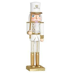 Soldado de Chumbo de Madeira Ouro e Branco com Espada 38cm - 01 unidade - Cromus Natal - Rizzo Embalagens