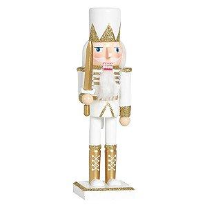 Soldado de Chumbo de Madeira Ouro e Branco com Espada 26cm - 01 unidade - Cromus Natal - Rizzo Embalagens