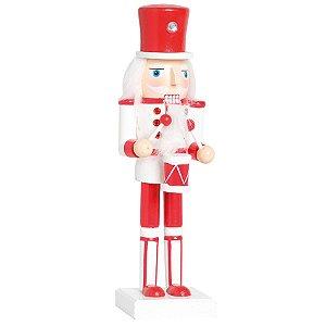 Soldado de Chumbo de Madeira Vermelho e Branco com Tambor 26cm - 01 unidade - Cromus Natal - Rizzo Embalagens