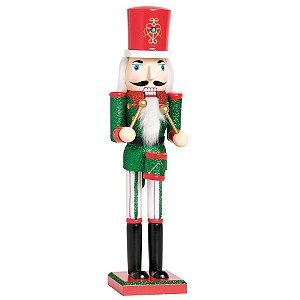 Soldado de Chumbo de Madeira Vermelho e Verde com Tambor 38cm - 01 unidade - Cromus Natal - Rizzo Embalagens