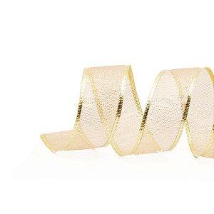 Fita Aramada Lame Ouro 6,3cm x 9,14m - 01 unidade - Cromus Natal - Rizzo Embalagens