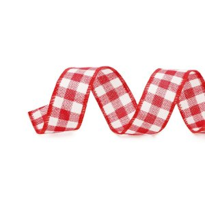 Fita Aramada Xadrez Vermelho e Branco 6,3cm x 9,14m - 01 unidade - Cromus Natal - Rizzo Embalagens